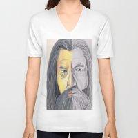 gandalf V-neck T-shirts featuring Gandalf   by RidnelSilva