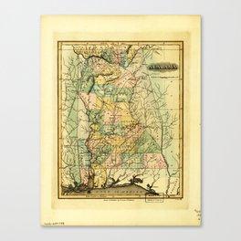 Map of Alabama (1826) Canvas Print