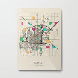 Colorful City Maps: Lubbock, Texas Metal Print