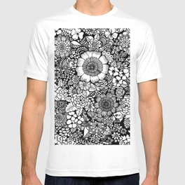 Blackand White Floral Line Drawing T-shirt
