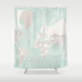 "World map with coral, seaweed and marine creatures, ""Lenore"" Shower Curtain"