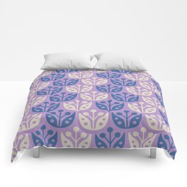 Mid Century Modern Flower Pattern Lavender and Blue 112 Comforters