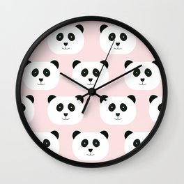 Panda Love -Pink Wall Clock