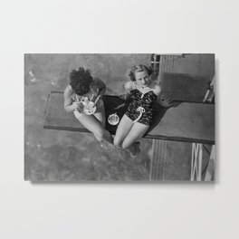 Tea for Two in Los Angeles, female friends having tea by the swimming pool black and white photograph / art photography Metal Print