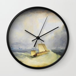 12,000pixel-500dpi - A Deal Lugger Going Off To Storm Bound Ships In The Downs - Thomas Buttersworth Wall Clock