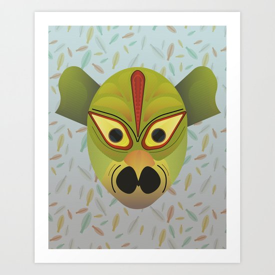 Devil amphibian bird mask Art Print