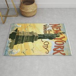 new york statue of liberty vintage travel poster ganesh Rug