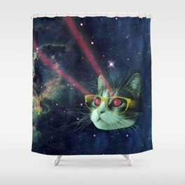 Laser cat with glasses in space Shower Curtain