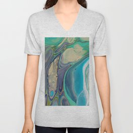 Fluid Abstract - Blue and Purple Unisex V-Neck
