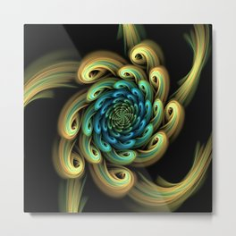 Spiral, Abstract Fractal Art Metal Print