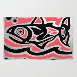 Maori tribal fish illustration Rug