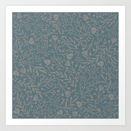 Scattered Flowers, Putty and Teal Blue Art Print