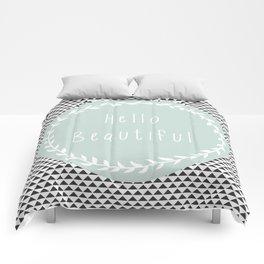 Hello Beautiful, Geometric, Quote, Modern, Home Decor Comforters