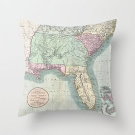 Vintage Map of The Southeastern U.S. (1806)  Throw Pillow