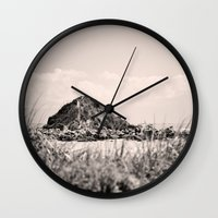 monkey island Wall Clocks featuring Monkey Island, Southland, New Zealand by the penny drops