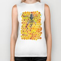 honeycomb Biker Tanks featuring Bee & Honeycomb by Cat Coquillette
