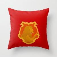 gryffindor Throw Pillows featuring Gryffindor by Tom Oxnam