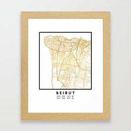 BEIRUT LEBANON CITY STREET MAP ART Framed Art Print