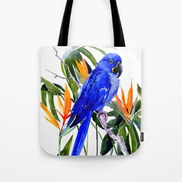 Hyacinth Macaw, Tropical colors foliage, jungle paradise flowers blue orange jungle colors Tote Bag
