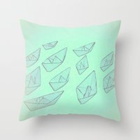 boats Throw Pillows featuring 'Boats' by Mr and Mrs Quirynen