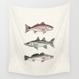 """""""Inshore Slam!"""" by Amber Marine ~ Redfish, Snook, & Trout Watercolor Illustration, (Copyright 2013) Wall Tapestry"""