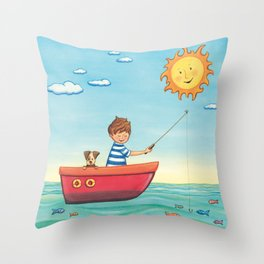 Happy Fishing Day Throw Pillow