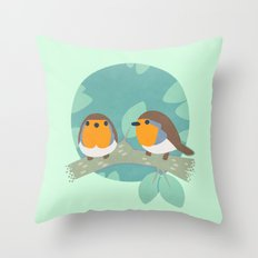 European Robins Throw Pillow
