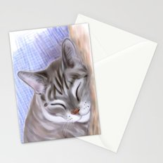 Sleepy cat Stationery Cards