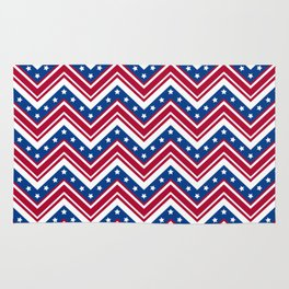 Red White and Blue Zigzag Stripes Rug