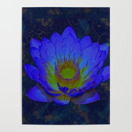 Blue Marble and Gold Watercolor Lotus Poster