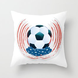 Football Ball and red, white Strokes Throw Pillow