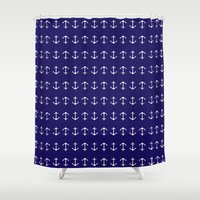 anchors Shower Curtains featuring Anchors by AleDan