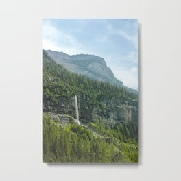 Mountain Landscape with Waterfall Metal Print
