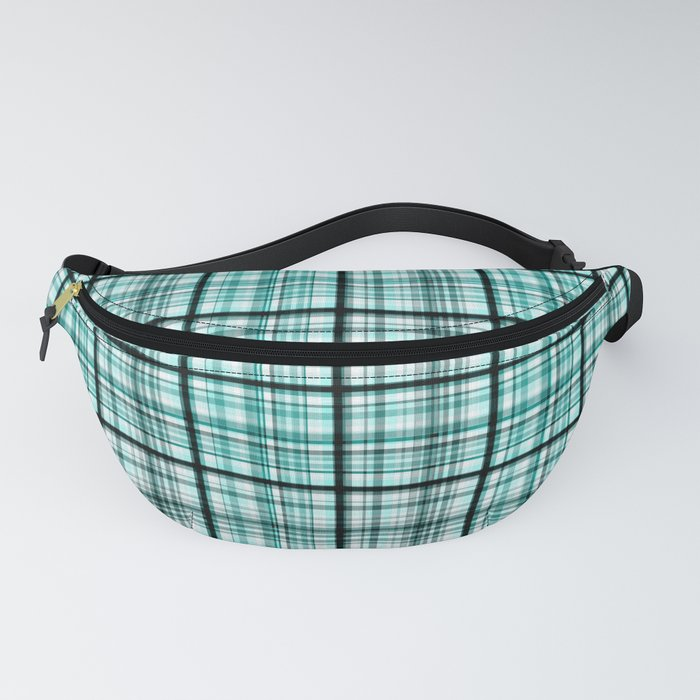 Plaid in blue and black colors . Fanny Pack