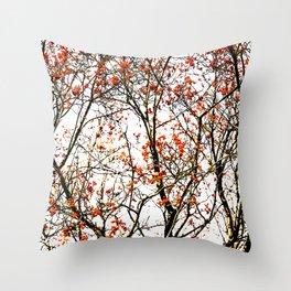 Red rowan fruits or ash berries Throw Pillow