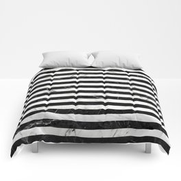 Marble Stripes Pattern - Black and White Comforters