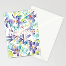 tropical greeting 'happy!' Stationery Cards