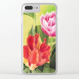 Tulips colored pencil illustration Clear iPhone Case
