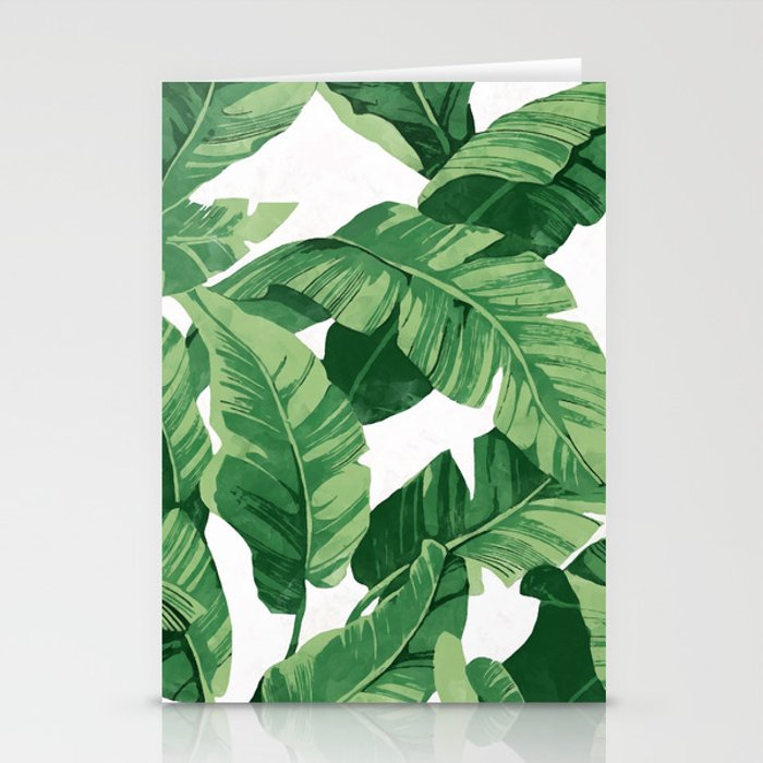 tropical banana leaves iv stationery cards by catyarte society6