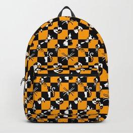 Black Orange & White Vintage Halloween Disco Check Backpack