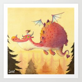 THE LITTLE GIRL AND THE DRAGON Art Print