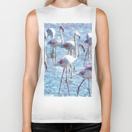 Stand Out In the Crowd Flamingo Watercolor Biker Tank