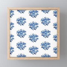 Delft Blue Floral Framed Mini Art Print