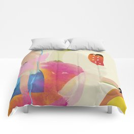 the window to my garden - minimal color abstract modern art Comforters