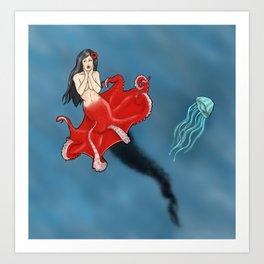Pin-up Octopus Mermaid Cecaelia Art Print