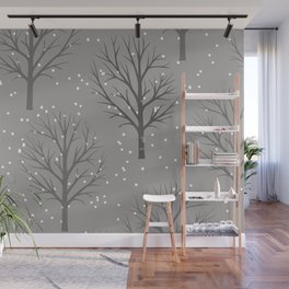 Winter trees with snowflakes - Christmas design Wall Mural