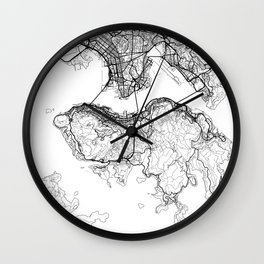 Hong Kong Map White Wall Clock