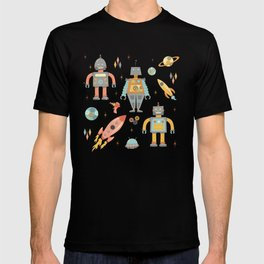 Vintage Inspired Robots in Space T-shirt