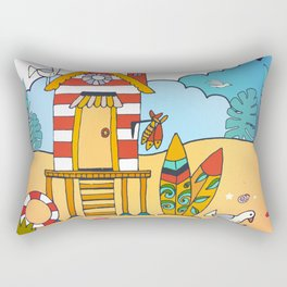 Surfers Beach Hut Nautical Illustration Rectangular Pillow
