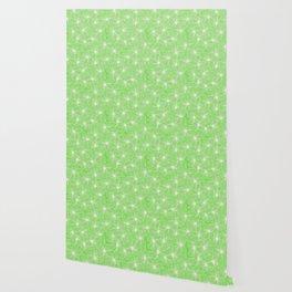 02 White Flowers on Green Wallpaper